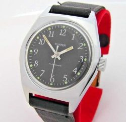Clipper Herren Armbanduhr schwarz silber mit Lederband UMF Kaliber 24