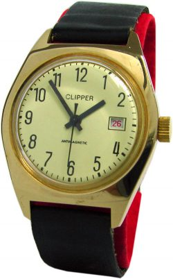 Clipper Herrenuhr mechanisch UMF Ruhla Export gelb Lederband schwarz Kaliber 24