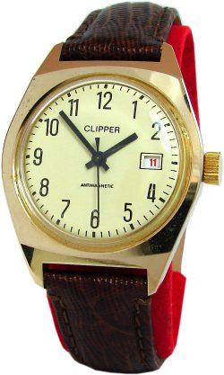 Clipper UMF Ruhla Export mechanische Herrenuhr braun gold gelb Lederband
