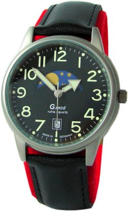 Garde Ruhla Germany Quarz Herrenuhr echte Mondphase schwarz Lederband 5ATM
