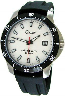 Garde Ruhla Quarz Herrenuhr Edelstahl Sport Datum Silikonband schwarz weiß 20bar