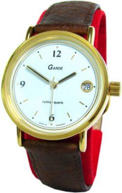 Garde Ruhla Quarz Herrenuhr limited edition Deutsche Mark goldfarben braun Leder