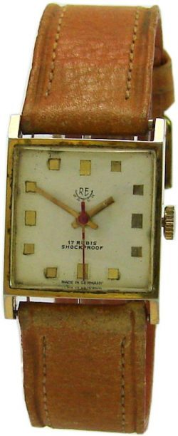 RE watch Carre Form Handaufzug Herrenuhr vergoldet Lederband braun 17 Steine