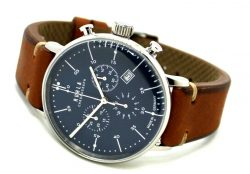 RUHLA Chronograph Herrenuhr Quarz blau Stil Bauhaus vintage design Lederband