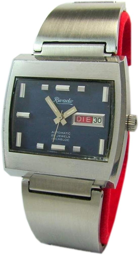 Rivado Automatic swiss made Herrenuhr blau Edelstahl Uhrband 25 Jewels