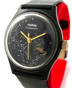 Ruhla Germany Galaxy Herrenuhr schwarz gold Made in GDR UMF Kaliber 24