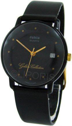 Ruhla Golden Collection rare DDR unisex Quarz Armbanduhr GDR Datum schwarz