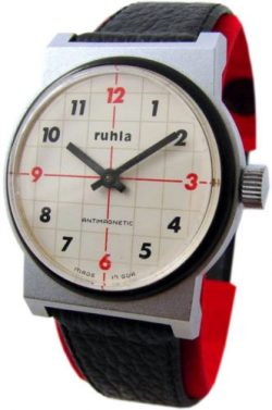 UMF Ruhla GDR mechanische design Herrenuhr Lederband schwarz Kaliber 24