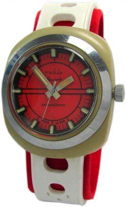 UMF Ruhla GDR tropicalized Kunststoff Kunststoffe Herrenuhr weiß rot Kaliber 24