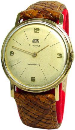 UMF Ruhla Germany Handaufzug Herrenuhr Lederband braun gold 17 Steine