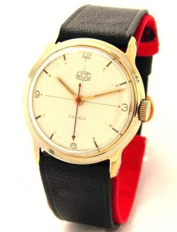 UMF Ruhla Germany Handaufzug Herrenuhr Lederband schwarz Made in GDR 5 Jewels