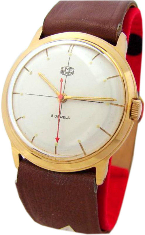 UMF Ruhla Germany Herrenuhr Handaufzug Lederband braun 5 Jewels DDR GDR