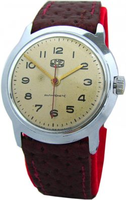 UMF Ruhla Germany mechanische Herrenuhr Handaufzug Lederband rot Made in GDR