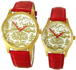 AureA swiss Partner Uhren Quarz analog Scherenschnitt Motiv gold rot Lederband