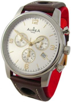 AureA Herrenuhr swiss made Quarz Chronograph Lederband braun silber 40mm CC1303
