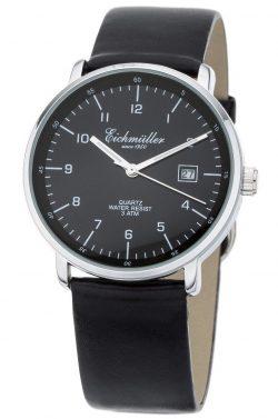 Eichmüller Herrenuhr Analog Quarz Lederband schwarz Datum Stil Bauhaus 38mm