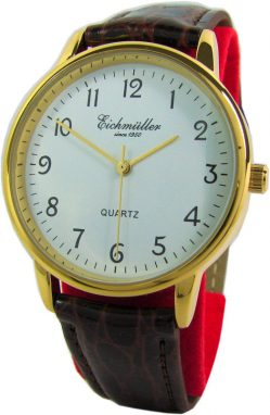 Eichmüller elegante Herrenuhr Quarz Analog gold weiß braun Leder Uhrband 37 mm