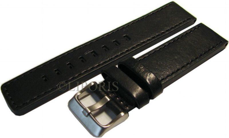 HEKTOR Herren Uhrenarmband 4mm dickes Leder schwarz 20mm mit Breitdornschließe
