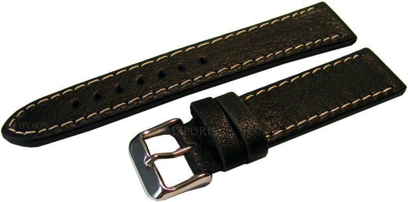 HEKTOR Herren Uhrenband Naturleder zertifiziert genarbt schwarz Naht weiß 20mm