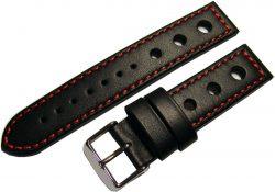 HEKTOR Rallye Uhrenband Herren schwarz Leder rote Naht Dornschließe poliert 20mm