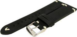 HEKTOR Uhrenarmband dickes Leder schwarz antik Optik Naht weiß Uhrband 22mm 559