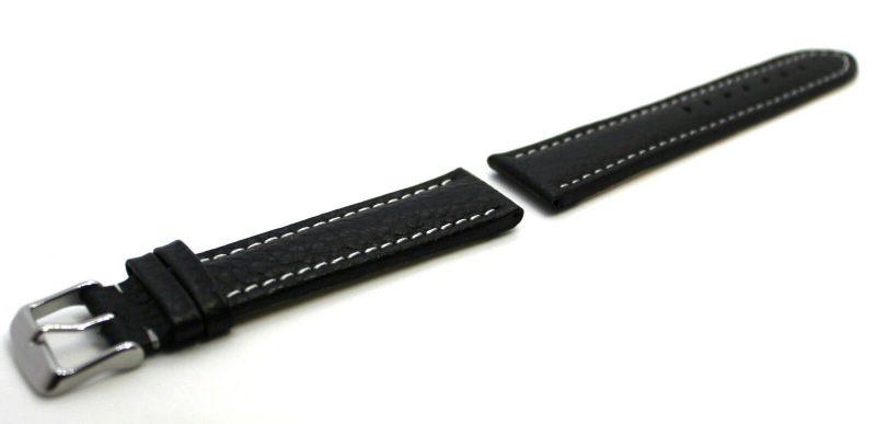 HEKTOR Uhrenarmband für Herren Leder schwarz genarbt Naht weiß Bandanstoß 22mm