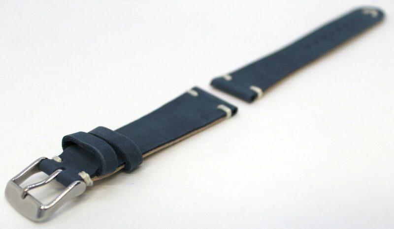 HEKTOR vintage unbranded Kalbsleder Uhrenarmband Sonderserie blau Naht weiß 18mm