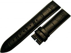 Herren Uhrenarmband ohne Schließe Leder schwarz kroko optik Anstoß 20mm