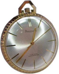 Preziosa Frackuhr für Herren vergoldet Zifferblatt silber 17 Rubis Größe 40mm