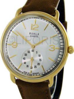 Ruhla Germany Classic Herrenuhr bicolor Quarz kleine Sekunde Leder Uhrband braun