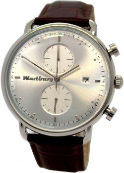 Wartburg Germany Herrenuhr Quarz Chronograph Edelstahl Bauhaus Stil Leder braun