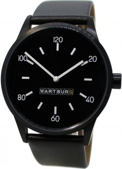 Wartburg Herrenuhr Made in Germany Quarz Stahl schwarz 353 Leder Uhrenarmband