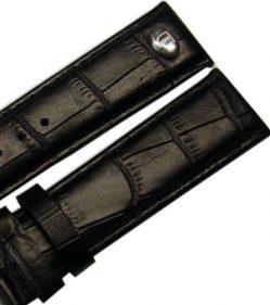 original Riedenschild Herren Uhrenarmband Leder Krokoprägung schwarz 20mm