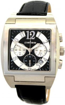 pallas Herrenuhr Germany großer Chronograph Quarz Uhrband Leder schwarz weiß