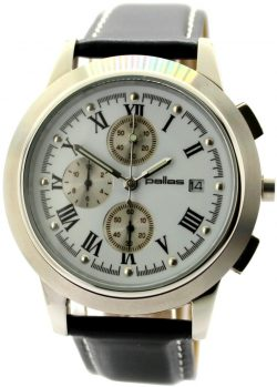 pallas Herrenuhr Quarz Chronograph Edelstahl Uhrband Leder schwarz Naht weiß