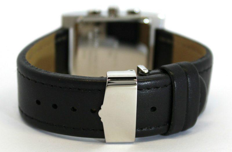 pallas Made in Germany Herrenuhr Tank Chronograph Quarz Uhrarmband Leder schwarz