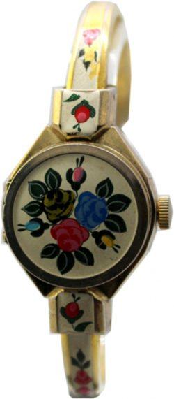 Alfex Blumen Motiv Damen Uhr