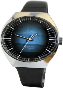 Sindaco Scheibenuhr swiss made digital Herrenuhr silber und blau retro design