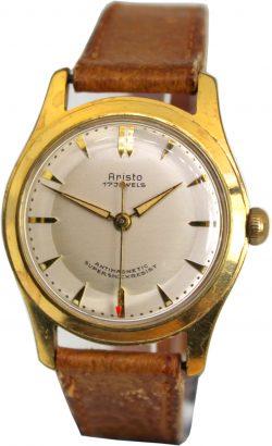 Aristo mechanische Herren Armbanduhr 17 Jewels gold Armband braun