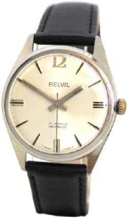Belvil swiss made Herrenuhr 17 Jewels Edelstahl Handaufzug Uhr mechanic watch