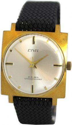 Civis Handaufzug 21 Rubis mechanische Herrenuhr Carre Gehäuse gold Textilband schwarz
