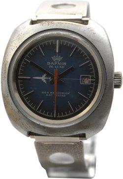 Dafnis de luxe mechanische Herrenuhr mit Datum rot Retro Design Handaufzug Uhr blau
