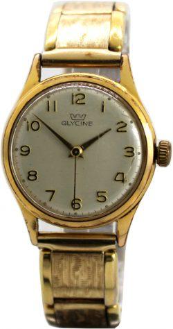 Glycine Herrenuhr swiss made mechanische Uhr mit Zugband gold