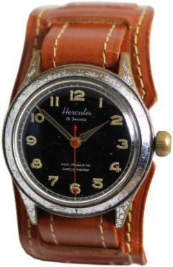 Hercules Herrenuhr Handaufzug 16 Jewels mechanische Made in Germany Uhr schwarz Unterlagenband braun