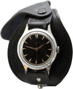 Junghans mechanische Herrenuhr mit Lederband schwarz