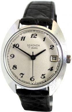 Sekonda USSR Herrenuhr mechanische Uhr mit 17 Steinen und Datum Lederband schwarz