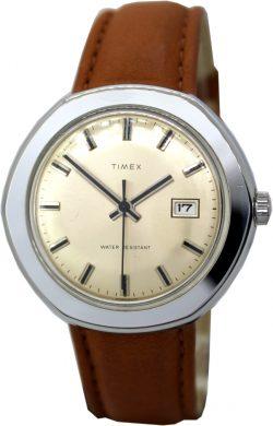 Timex Handaufzug mechanische Herrenuhr Datum braunes Lederband