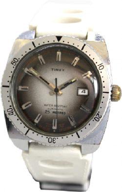 Timex Automatic mechanische Herrenuhr mit Datum Retro Band weiß