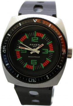 Anker 200 Sport Taucher Uhr Herrenuhr mit Drehlünette Handaufzug vintage schwarz Ziffern grün