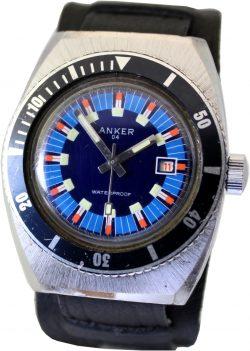 Anker 04 Herrenuhr mit Datum Drehlünette im Taucher Uhr Design und Unterlagenband schwarz
